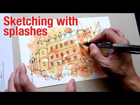 Sketching with Watercolour Splashes