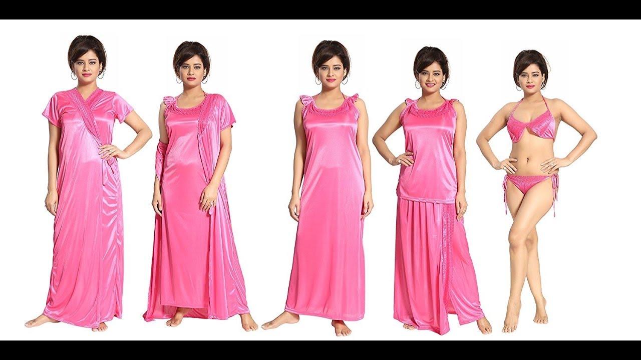 9a6d8c5d5c TUCUTE Women's Satin Nightwear Set of 6 Pcs Nighty, Wrap Gown, Top ...