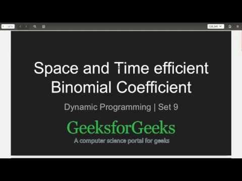 Space and time efficient Binomial Coefficient - GeeksforGeeks