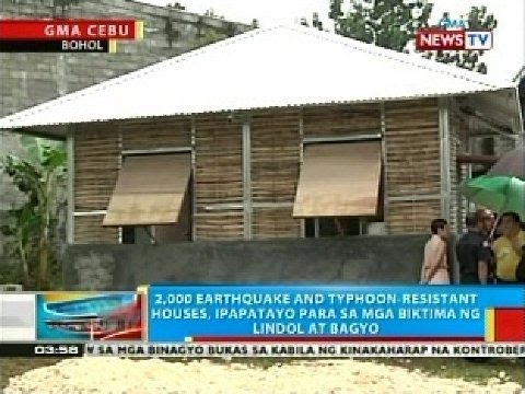 2,000 earthquake and typhoon-resistant houses, ipapatayo para sa mga biktima ng lindol at bagyo