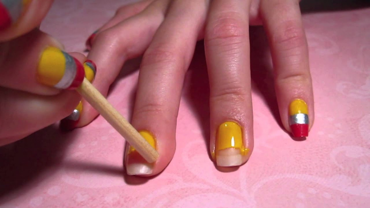 Back-To-School Tutorial: Pencil Nail Art - YouTube