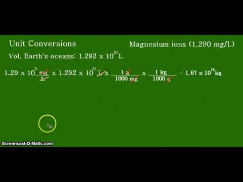 Calculating The Mass Of Magnesium Cations (Mg 2+) In The Earth's Seawater