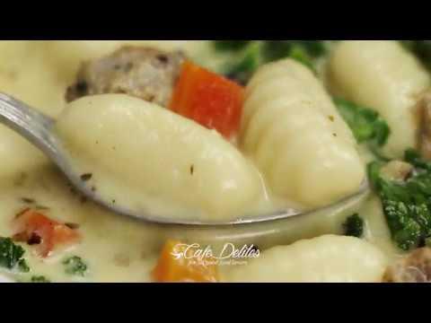 Slow Cooker Creamy Gnocchi Sausage Kale Soup