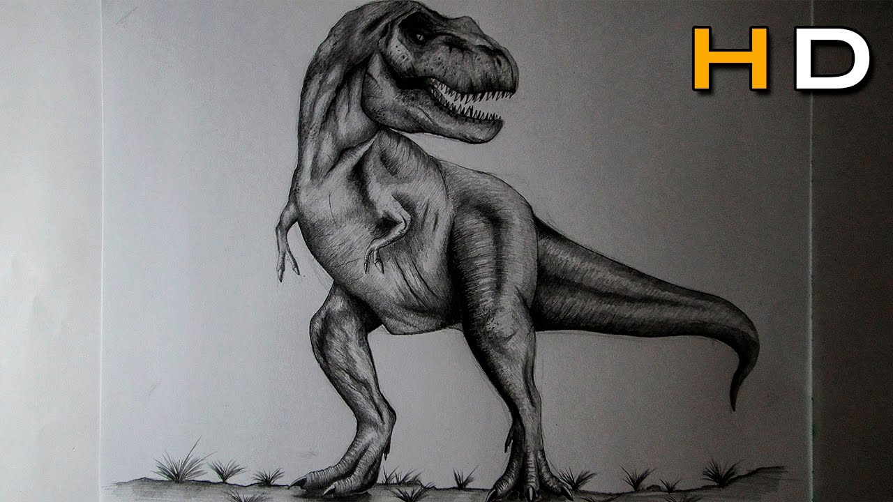 Uncategorized How To Draw A Realistic Dinosaur how to draw a t rex with pencil step by drawing realistic dinosaur youtube