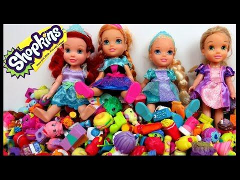 Cool Shopkins GAME! Elsa, Anna, Rapunzel & Ariel toddlers PLAY