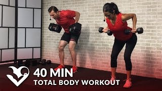 40 Min Total Body Workout with Weights - Dumbbell Training Strength Workout at Home for Women & Men