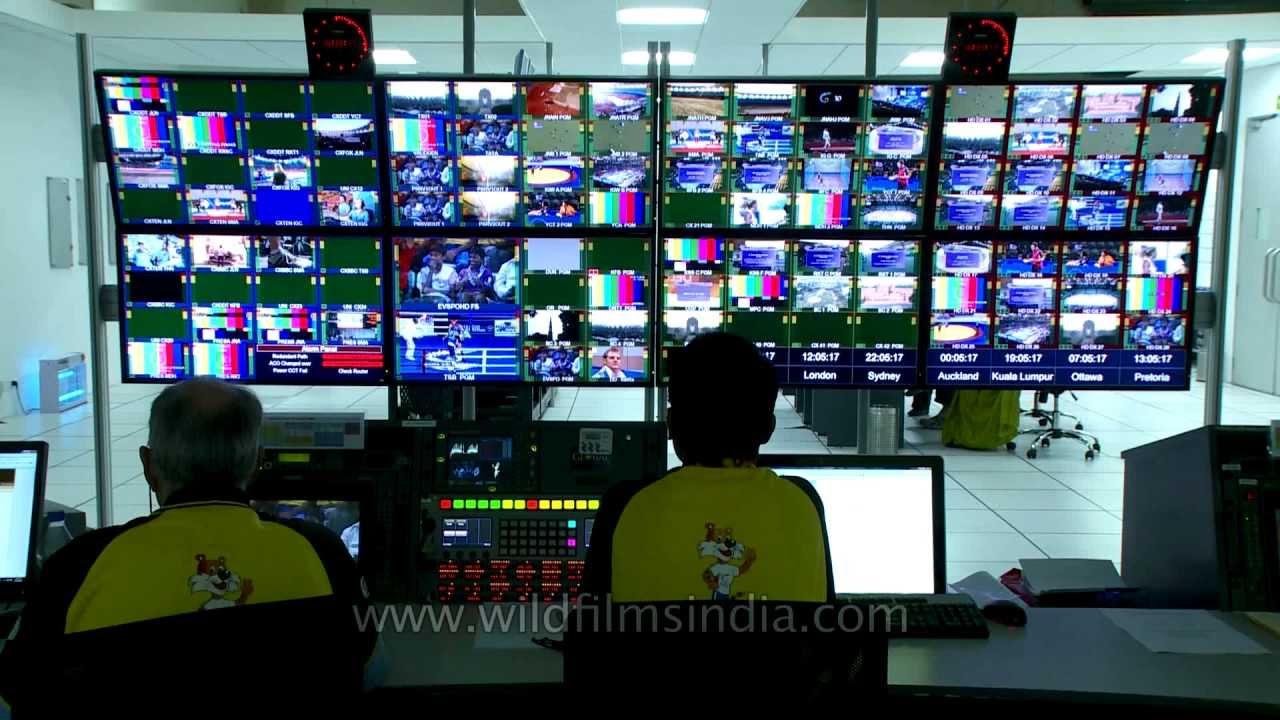 the room live screening broadcast centre with wall of broadcast monitors 16559