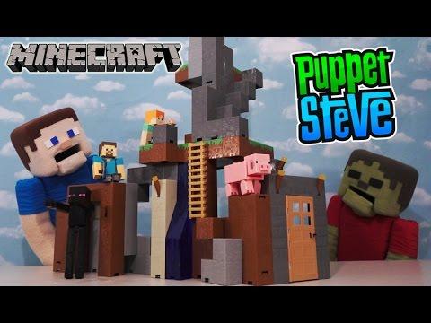 Minecraft Survival Mode Playset Mattel Overworld Huge Base unboxing Puppet Steve
