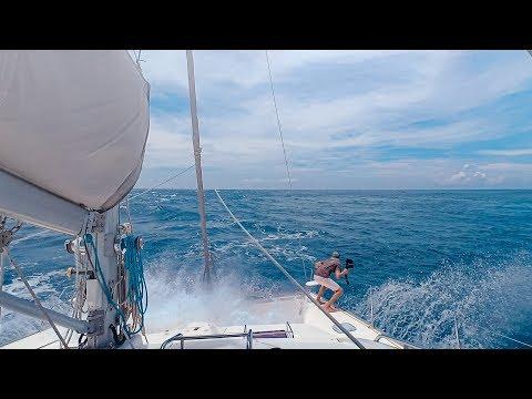 HANG ON!!! Sharks, Dolphins & BIG Waves || Sailing Rangiroa Tuamotu, French Polynesia