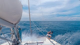 HANG ON!!!  Sharks, Dolphins & BIG Waves || Sailing Rangiroa Tuamotu, French Polynesia