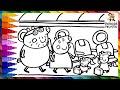 Dibuja y Colorea A Peppa Pig Y Su Familia Viajando En Un Avión 🐷✈️ Dibujos Para Niños