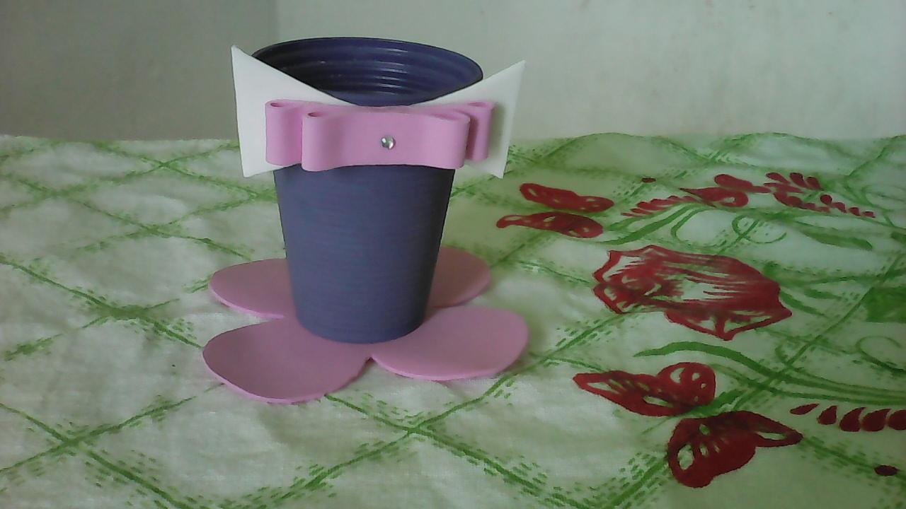 Artesanato Argila ~ como fazer Lembrancinha infantil copo descartável e eva fácil e barato, reciclagem , #artesanato