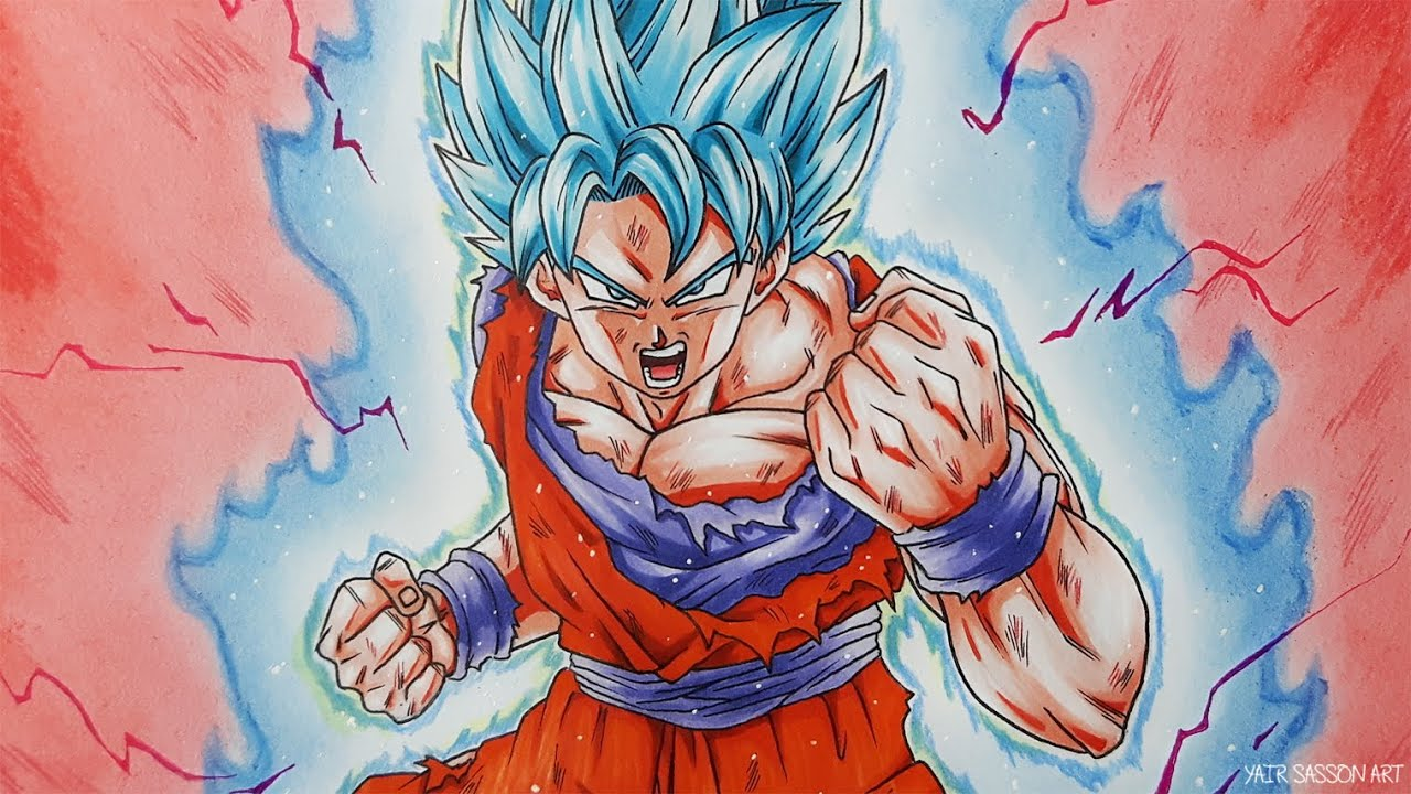 How To Draw Goku Super Saiyan Blue Kaioken