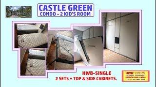 Hidden Bed Castle Green.HWB- Single X2+ Top & Side Storage Cabinets.HWB HUB.BTO.EC.DBSS
