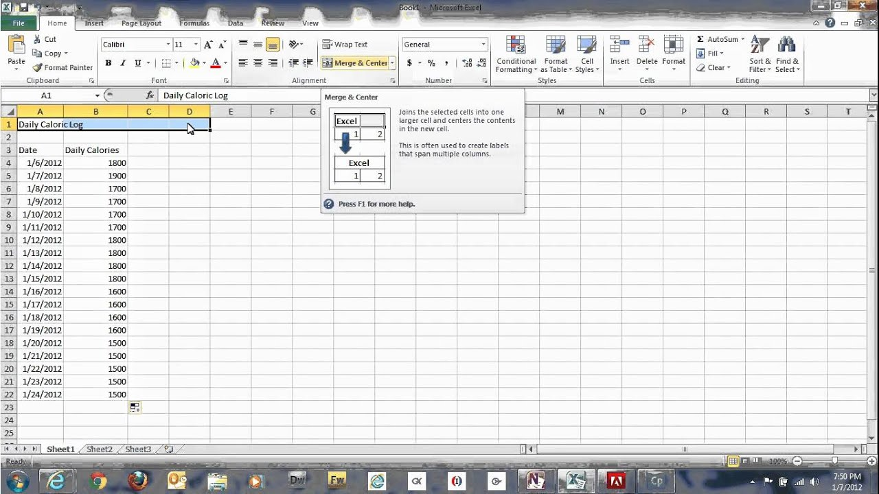 how to use microsoft excel spreadsheets to track daily calories