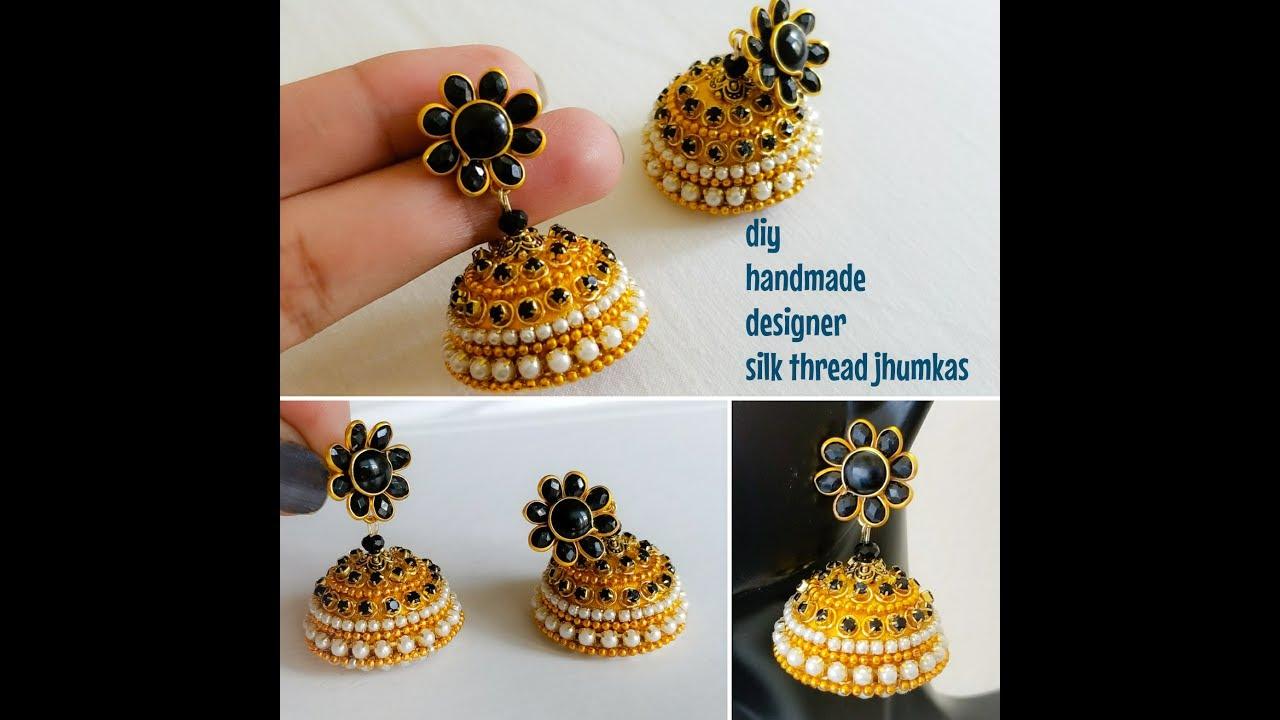 1cf20e9f4 Making silk thread jhumkas||designer silk thread jhumkas||Tutorial ...