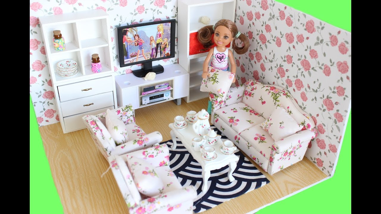 Barbie Bedroom In A Box: Easy Diy Barbie Chelsea Size Living Room Dollhouse With