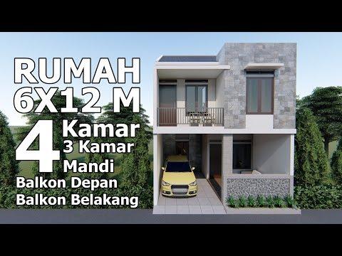 Rumah 6x12 m dengan 4 kamar tidur, 3 Kamar Mandi dan area terbuka dibelakang lantai 2