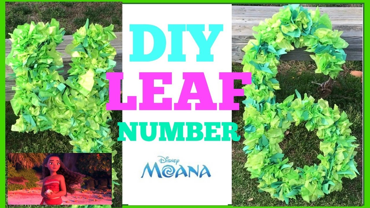 Diy Jungle Leaf Numbers Moana Party 5 Or Less YouTube