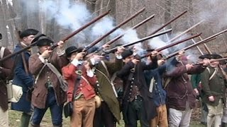 Re-enactment of British Redcoats vs. Local Militiamen at Lexington, MA