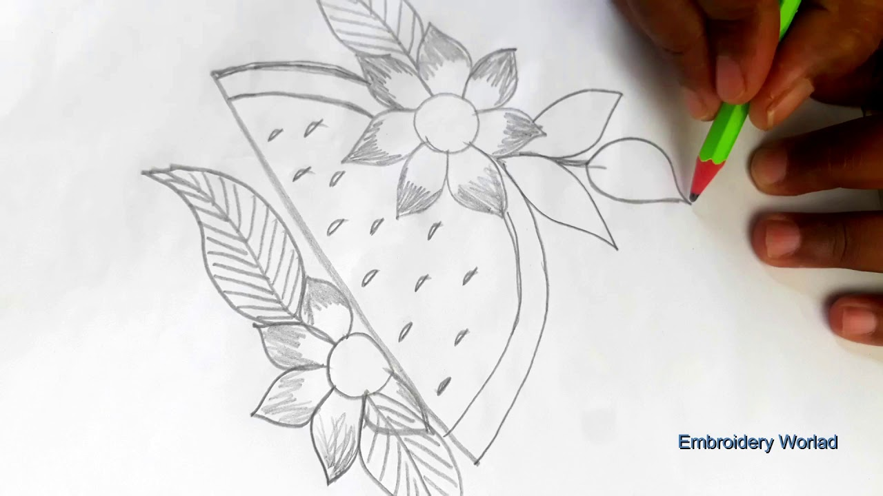 How to hand embroidery design drawing water melon design with cloth