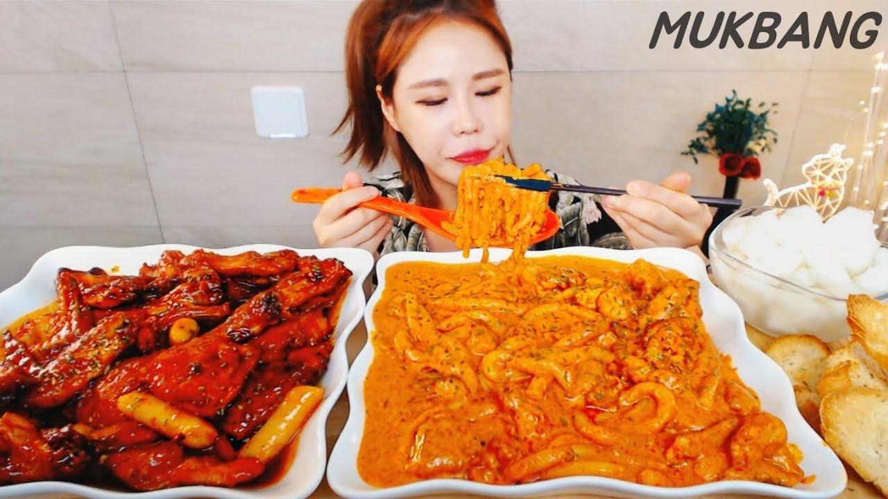 SUB) 훌랄라 참숯핫바베큐치킨 순살로제바베큐치킨먹방 누들떡볶이 먹방 MUKBANG ASMR Spicy seasoned chicken Rose Chicken Tteokbokki