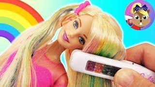 RAINBOW HAIR BARBIE bábika | Barbie dúhové vlasy | Barbie novinky | Kriedy na vlasy | Barbie účesy