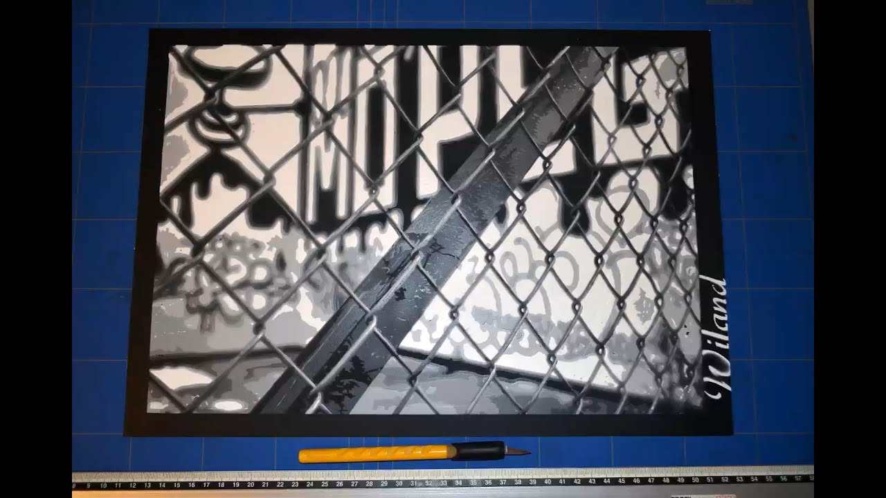 Urban Fence - stencil spray paint on paper - Wiland - YouTube