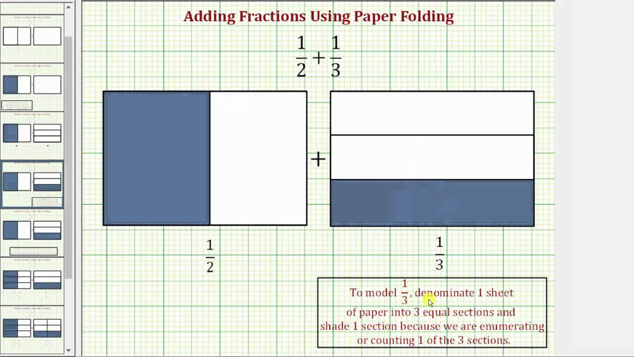 Ex: Paper Folding To Model Addition Of Fractions With Unlike Denominators
