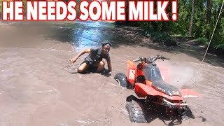HE FLIPS OVER HIS QUAD INTO THE WATER ! | BRAAP VLOGS