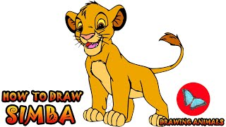 How To Draw Simba From The Lion King   Drawing Animals
