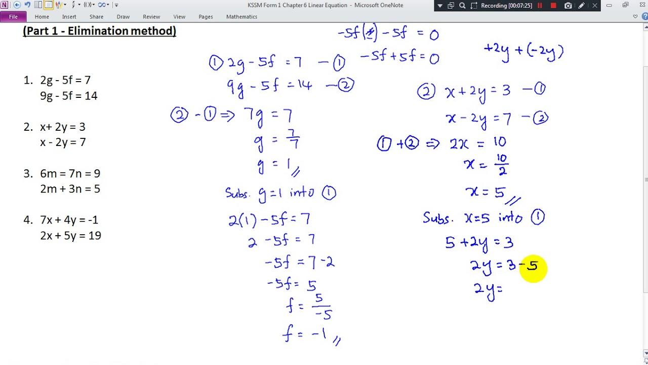 Kssm Form 1 Chapter 6 Simultaneous Linear Equation Elimination Method Youtube