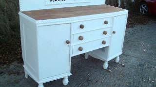 Vintage Retro Painted Shabby Chic Sideboard Stripped Top