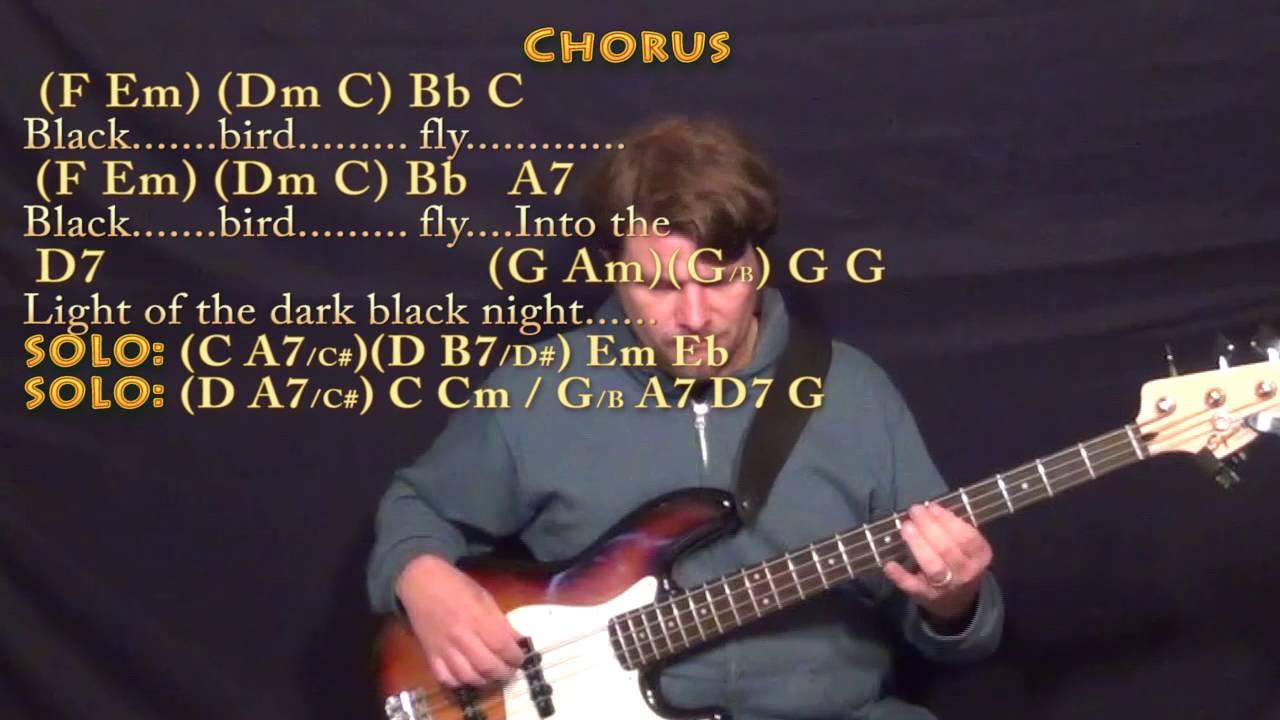 Blackbird The Beatles Bass Guitar Cover Lesson With Chordslyrics