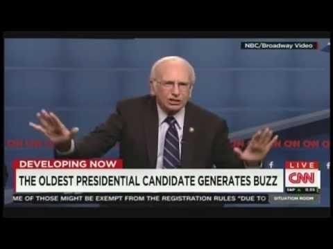 "Larry David nails it as Bernie Sanders in ""Saturday Night Live"" skit (October 19, 2015)"