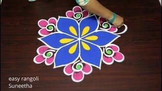 Amazing Freehand rangoli kolam for Sankranthi festival 2020 by easy rangoli Suneetha
