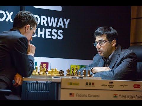 VISWANATHAN ANAND BEATS FABIANO CARUANA - NORWAY CHESS 2017 ROUND 6