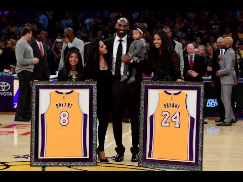 4c91ee768d46 Kobe Bryant No.8   No.24 Jersey Retirement In Los Angeles - YouTube
