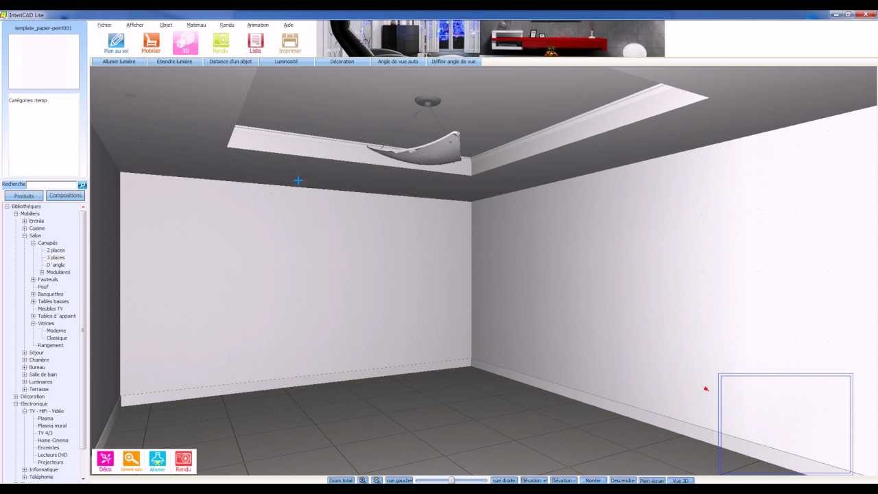 Tutoriel intericad lite cr er un faux plafond youtube for Faire un faux plafond en ba13