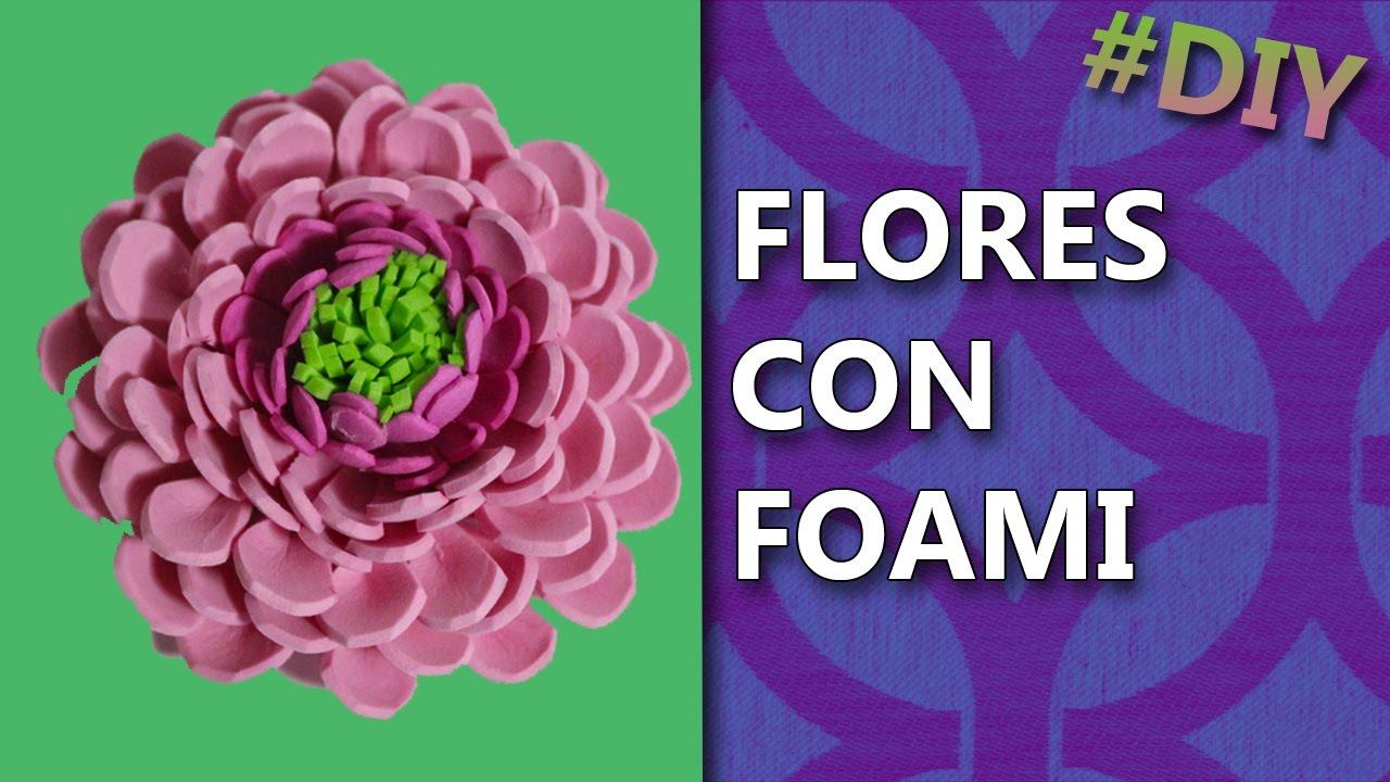 Como Hacer Flores De Fomi Sencillas Manualidades Flores Youtube