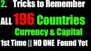 Tricks to Learn ALL 196 Countries Currency & Capital || No one Found Yet || Part - 2