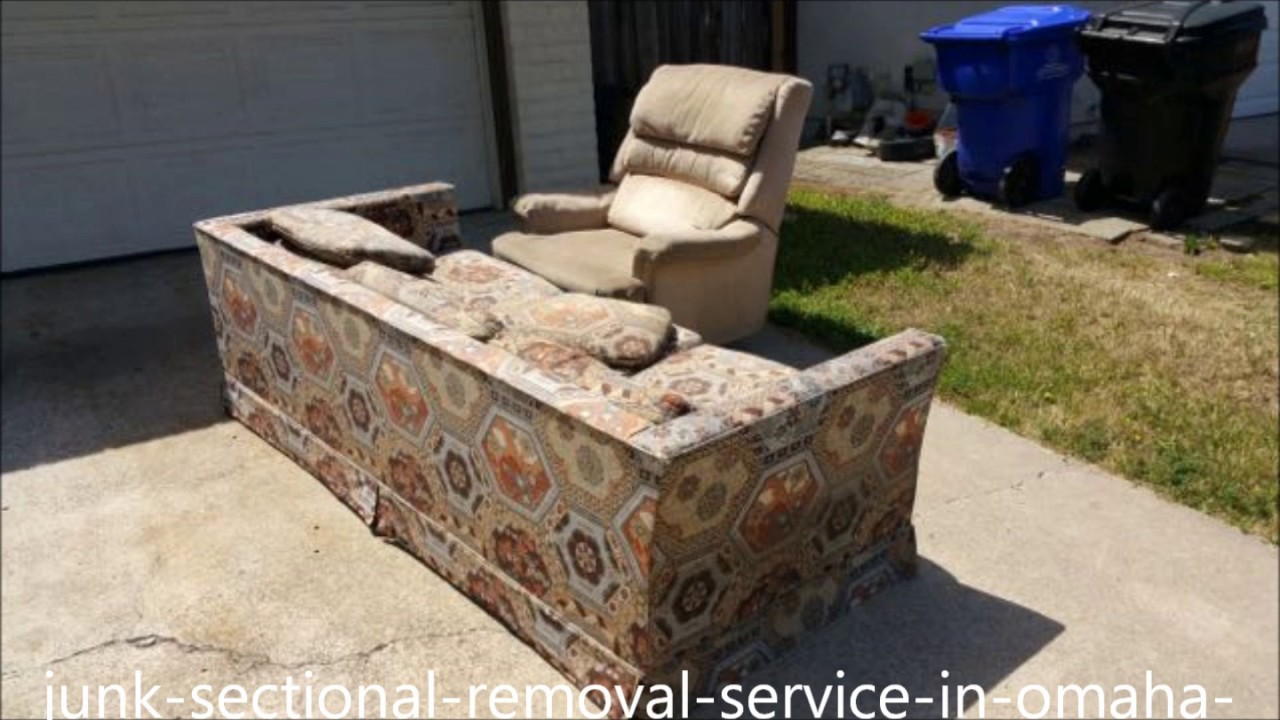 Sectional Removal Omaha NE | Excel Junk Removal Service | Furniture  Sectional Couch Sofa Hide A Bed   YouTube