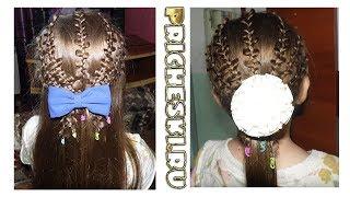 Детская прическа для девочек с ажурными косичками  Прическа на каждый день, прическа на 1 сентября