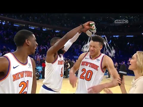 Kevin Knox Gets Doused During Postgame Interview! | New York Knicks | MSG Networks
