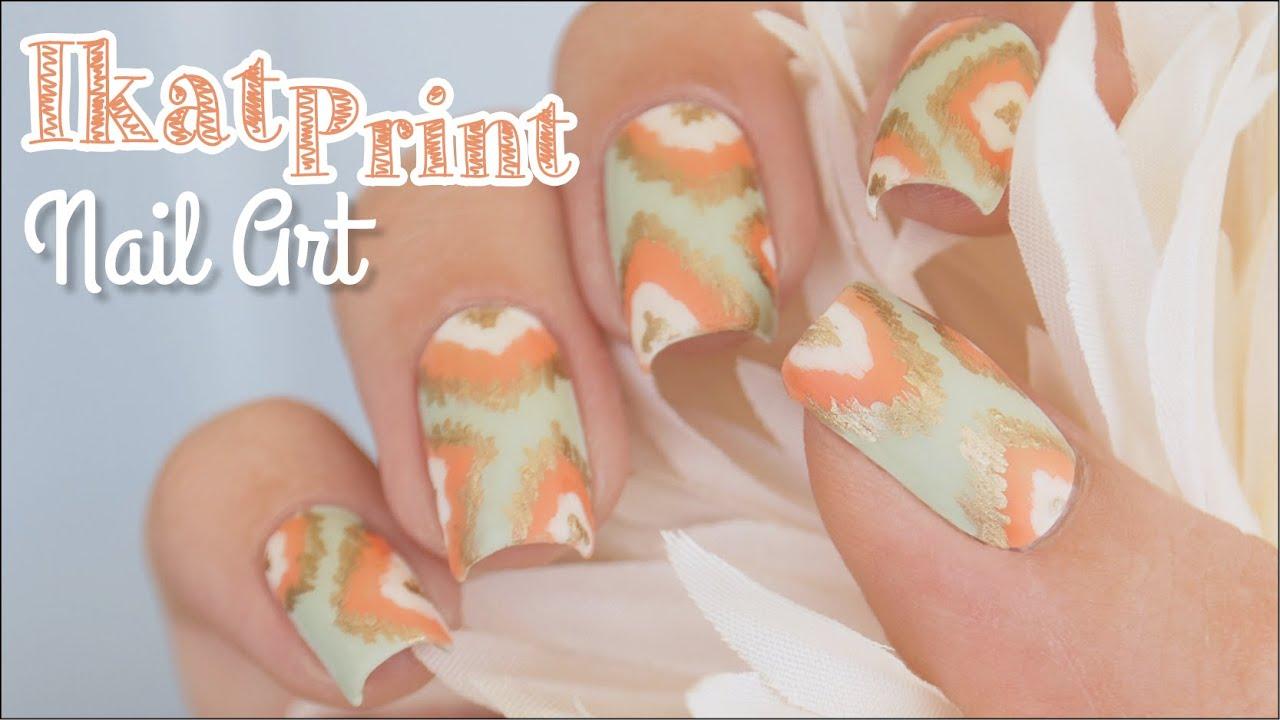 Ikat Print Nail Art Using Pure Color 10 Nail Art Detail Brush
