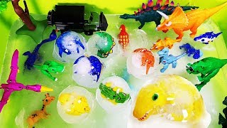 Frozen Dino Mecard~! Ankylo, Spino, Deinosuchus escape Ice Ball & Beyblade Toys Play.