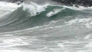 The Wedge Newport Beach, CA 9.2.11 aerial action - body surfer LAUNCHED!