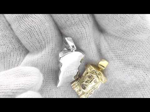 Nano Jesus Pendant Genuine Diamond Eyes SOLID .925 Sterling Silver