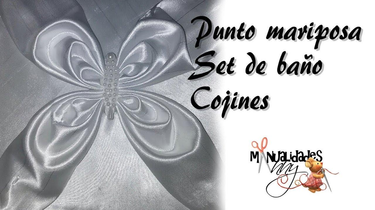 CLASE XXXII - PUNTO MARIPOSA SET DE BAÑO Y COJÍN | Manualidades Anny ...