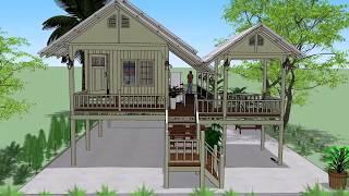 บ้านไม้ในสวน ยกพื้นสูง    ( No. 016 )    Sketchup by :  i. pakdee